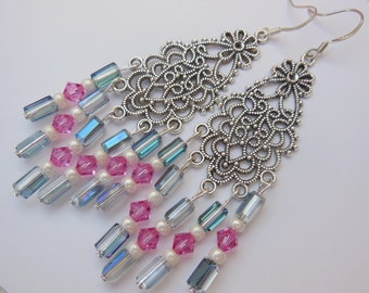 Roses on Crystal chandelier earrings  E474