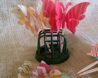 Floating Butterfly Cupcake Pick Toppers in Mixed Chevron Patterns