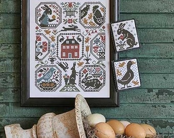 CARDSTOCK PRINTING Rabbit Run Book No. 194 counted cross stitch patterns Prairie Schooler at thecottageneedle.com