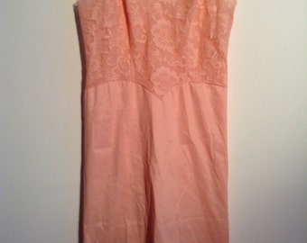 Peach slip. All Nylon and Lace.  Vanity Fair, size 32.  Vintage 1960