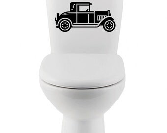 Classic Car Vinyl  Wall Decal- toilet, Home Decor, Sticker, Shower, Bathroom