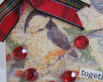 After Christmas Sale, Together, Christmas Collage, Collage with Birds, Altered Art, Mixed Media Collage