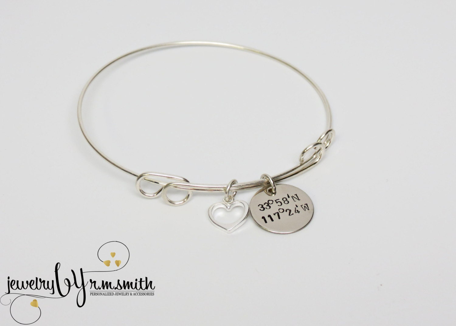 personalized coordinates bracelet bangle with by