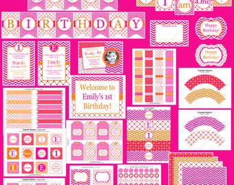 Sherbet Hot Pink & Orange girls first Birthday Party package DELUXE PRINTABLE Party Package  Chevron polka dots monogram