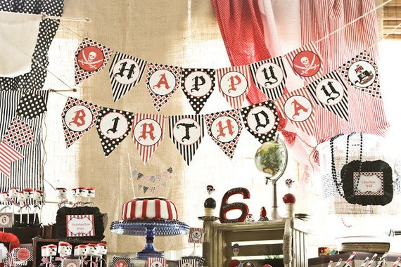 Pirate Birthday Party decorations PRINTABLE pendant Banner red