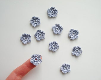 Crochet Flower Appliques, Tiny Small Cute Flowers, Decorative Motifs, Elegant Purple Gray Grey, Set of 10, Embellishments, Scrapbooking