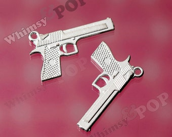 Handgun Revolver Pendant Charm, Silver Gun Charms, Pistol Charm, Police Charm, Military Charms 34mm x 20mm (R6-181)