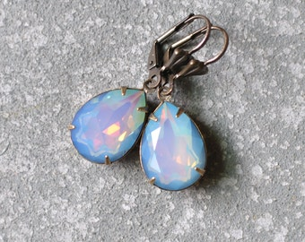 White Opal Rainbow Earrings Swarovski Crystal Pastel Dangle Earrings RARE Pear Earrings Duchess Mashugana