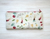 Japanese linen cotton Pencil case Cosmetic pouch Back to school Woods rabbit bunny fruits