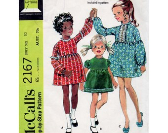 1960s Girl's Boho Empire Dress Pattern McCall's 2167 Child's Vintage Sewing Pattern Size 10