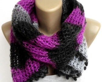 Women Knit Scarf // Knitted Shawl // Crochet Shawl // Scarf Wrap // Gifts For Her // Christmas Gifts // Winter Accessories /// senoaccessory
