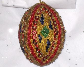 "Christmas Ornament, Vintage Bead and Sequins Handmade Egg  / 3 1/2"" Tall Beaded Ornament"