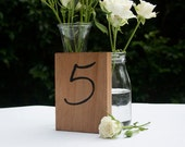 Hand painted wood block table numbers