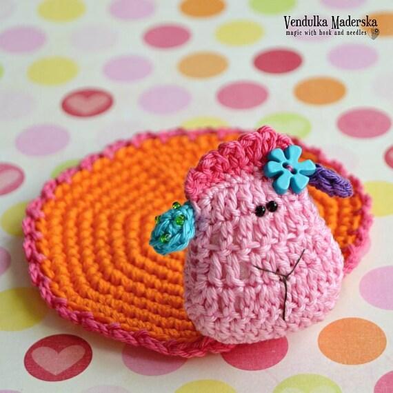 Crochet sheep coaster - pattern DIY