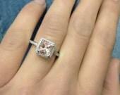 14k White Gold Vintage Morganite Engagement Ring Diamond Wedding Band 7x7mm Cushion Pink Peach Morganite Ring