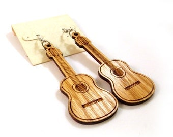 Guitar Wooden Hook Earrings in Oak - Sustainably Harvested Wooden Dangle Earrings