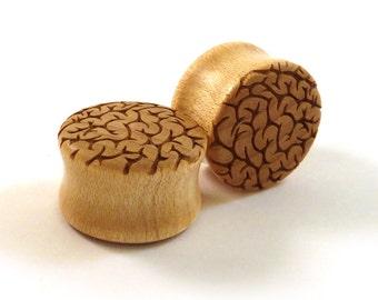 "Brain Pattern Maple Wooden Plugs PAIR 00g (10mm) 7/16"" (11mm) 1/2"" (13mm) 9/16"" (14mm) 5/8"" (16mm) 3/4"" (19mm) 7/8"" 22mm 1"" + up  Ear Gauges"