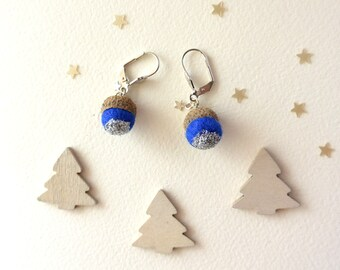 Woodland earrings with a tiny blue acorn with silver glitter and tiny star. Winter earrings.