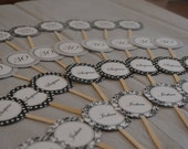 Black and White Cupcake Toppers- print your own