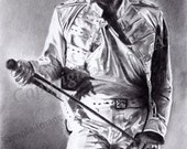 Freddie Mercury - Queen A4 A3 or A2 Size Limited Edition Art Print by English artist Steve Russell of RussellArt