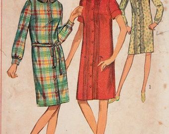 1960's Juniors Teens Sack Dress Button Down Simplicity 6588 Vintage Sewing Pattern Bust 33""