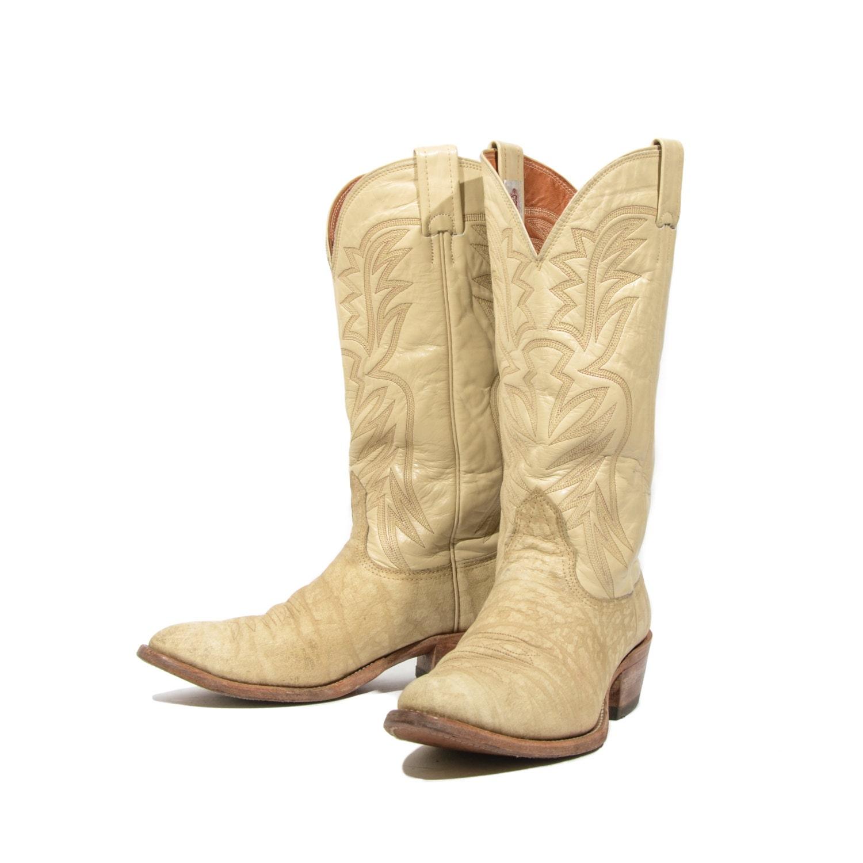 8 5 d s vintage cowboy boots by nocona bone ivory
