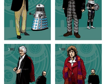 "Doctor Who - The Twelve Doctors - Alternative Set of Individual 17 x 11"" Digital Prints"