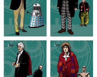 "Doctor Who - The Thirteen Doctors - Set of Individual 6 x 4"" Digital Prints"