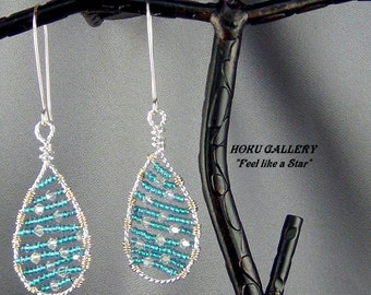 """Wirewrap, Dragonfly Shimmer Toho Glass Seed Beads, Swarovski Crystals, Earrings  - 2.75"""" - Hand Crafted Artisan Jewelry"""