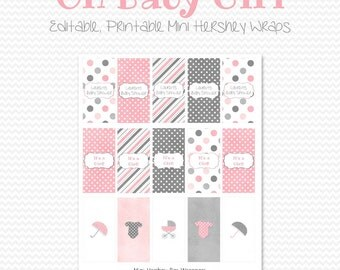 Mini Candy Bar Wrapper, Pink and Gray Baby Shower Favor, Candy Bar Label, Party Favor, Girl Shower Theme - Editable, Printable, Instant