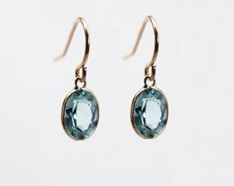 14k Solid Gold Blue Topaz Drop Earrings - Gemstone Dangle Earrings - Birthstone Earrings