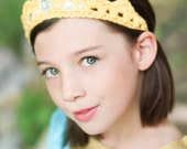 Princess Party Crown Dress up Tiara - Crocheted Crown with Gems and Pearls - Soft Elastic Back - Little Girl Party Favor- Birthday Gift
