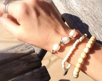 TRINITY Organic Natural Freshwater Pearl Leather Bracelet by MOONDROPS