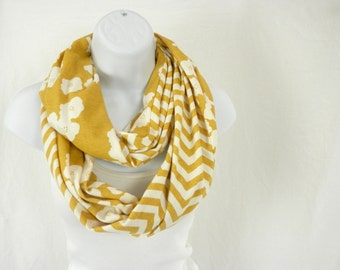 ORGANIC Cotton Knit Infinity Scarf  Sunny Gold Chevron and Poppies Handmade Fashion by Thimbledoodle