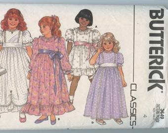 1980s Vintage Sewing Pattern Butterick 3649 Girls Special Occasion Dress Pattern Size 4 UNCUT