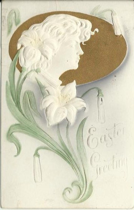 "Antique Postcard ""Easter Greetings"" Heavily Embossed Novelty  Airbrushed and Gold Gilded Card Art Nouveau Lady & White Lily Flowers 1908"
