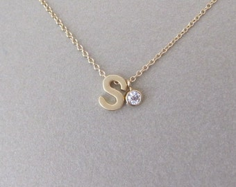 Lower Case Gold Initial & Diamond Charm Necklace - Initial Necklace - Monogram Jewelry - Personalized Jewelry