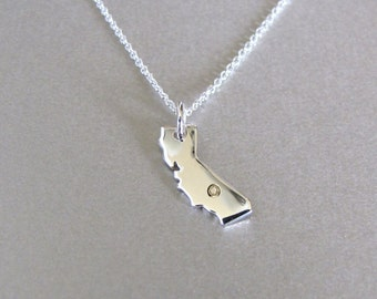 California State Charm Damond Necklace - State Charm - State Necklace