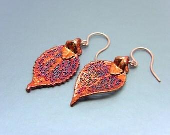 Iridescent Copper Evergreen Leaf Earrings