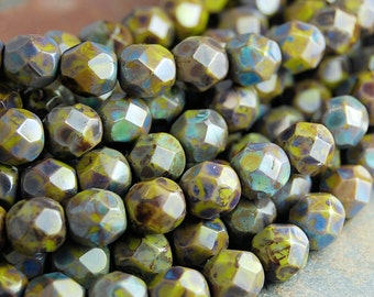 Opaque Olive Picasso Czech Glass Bead 6mm Round - 25 Pc