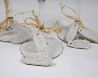 Personalized wine glass name charms