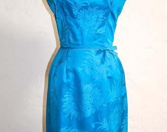 Vintage 60s Teal Silk Brocade Mad Men Wiggle Dress 34 Bust XS