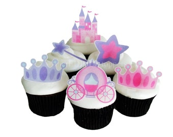 PRINCESS BIRTHDAY Cake, Edible Cupcake Toppers, Birthday Party Decorations, Cake Topper