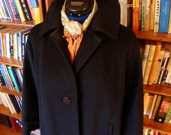 WINTER SOPHISTICATION--Jet Black 1950s Ladies Mohair Coat--M