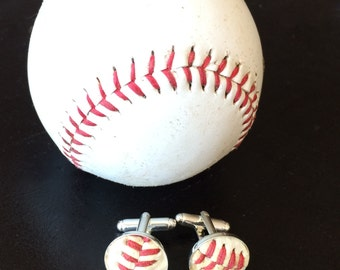 Played game ball MLB baseball LA Dodgers Manly man sports fanatic hand crafted cuff links