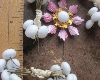 Vintage Milk Glass Flower Centers Headpins