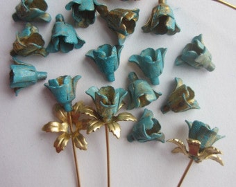 20  Vintage Painted Metal Teal Flowers
