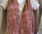 Mauve cotton jersey color removal tie dye scarf printed floral lacy shaded wrap stretchy