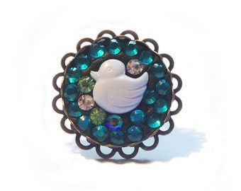 Duck Ring, Blue Crystal Clay Statement Piece
