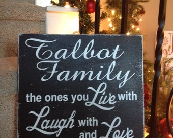 PERSONALIZED FAMILY SAYING 12x12 Wood Handpainted Sign Made to order Color Variations Available